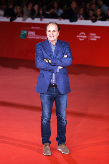 Rome, Italy - October 16, 2016: Brando Quilici walks a red carpet for 'The Rolling Stone Ole Ole Ole!: A trip Across Latin America' during the 11th Rome Film Festival at Auditorium Parco Della Musica. Adult Adults Only Arts Culture And Entertainment Celebrities Front View One Person People Portrait Red Red Carpet Rome Film Fest Standing