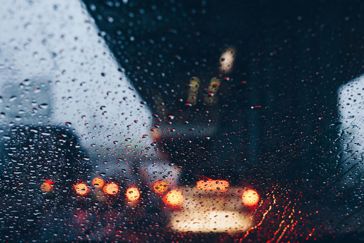 Illuminated Drop Car Transportation Backgrounds Window Wet RainyDay Mode Of Transport