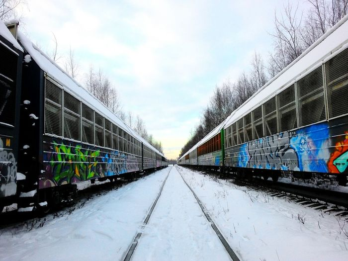 Relaxing Taking Photos Enjoying Life Hello World Hanging Out Train Graffiti  Train Snow People Are People City Street Road Saint Petersburg Russia Beautiful Day Picture Pink Pink Color Blue Escaping