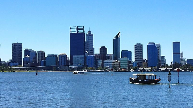 Swan River: Perth Cityscape Building City Western Australia Architecture Modern Perth Water Tourism Tourist Attraction  Tourist Destination Cityscape City View  Australia Ferry Boat Transportation Lifestyle Boating Swan River River Urban Geometry Urban Urban Landscape City View  Perth Australia