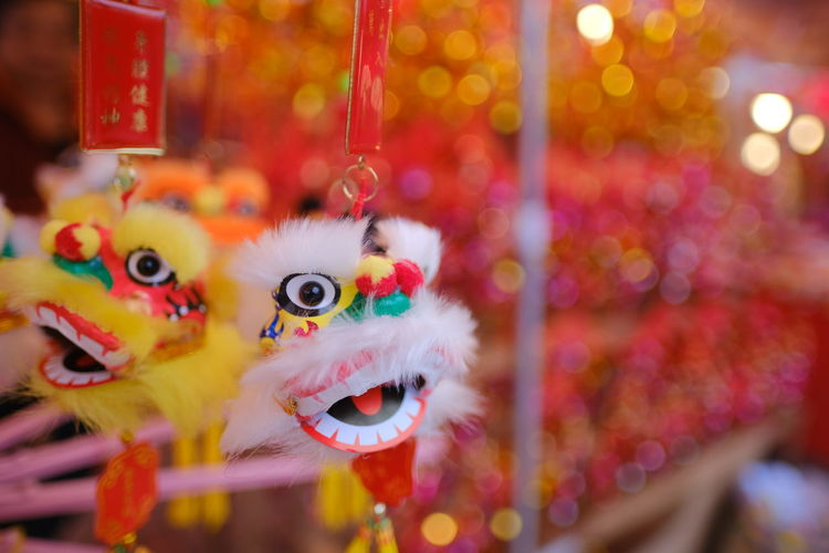 Close-up of stuffed toy hanging for sale