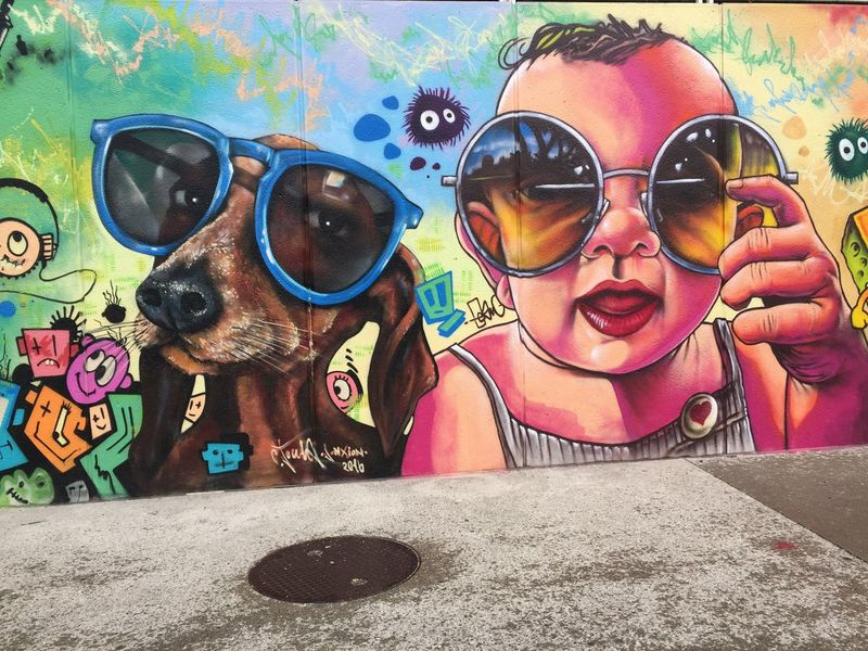 Neon Life Sunglasses Eyeglasses  Protective Eyewear Eyewear Real People Elementary Age Glasses Leisure Activity Dog Lifestyles Looking At Camera Built Structure Girls One Person Boys Day Childhood Portrait Outdoors Building Exterior Streetart Graffiti Street Art/Graffiti Street Art
