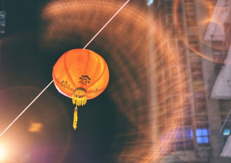 Illuminated Lantern Hanging At Night