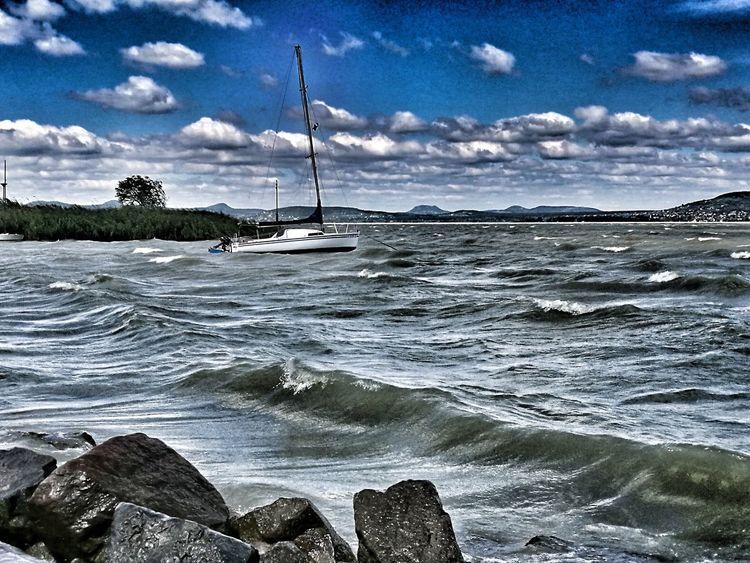 Cloud - Sky Sky Boat Lake Balatonlelle Balaton - Hungary Water Stormy Lake Boats⛵️ Boat Stormy Weather Balaton Dramatic Sky Dramatic Waves Wave Waves Wind Windy Day Windy Weather