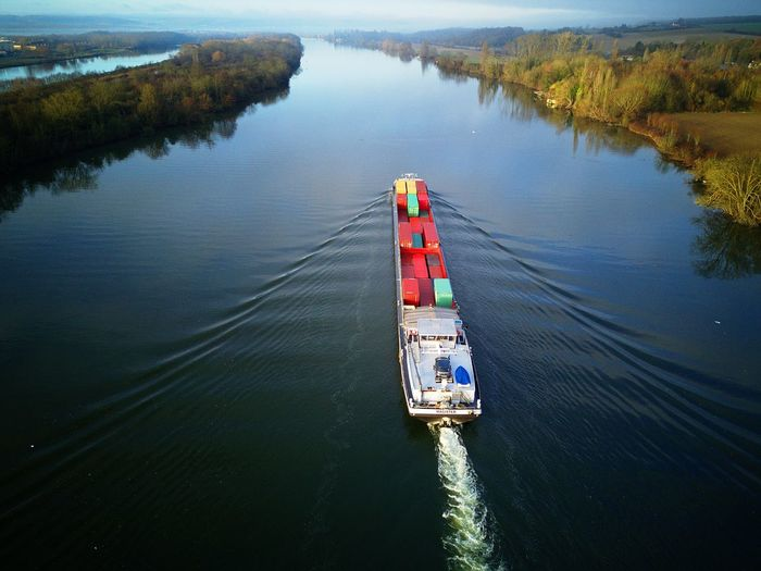 A Bird's Eye View Water Nautical Vessel Transportation Mode Of Transport Nature Waterfront Outdoors Day Lake Beauty In Nature No People Dji Aerial Photography DJI Mavic Pro Boat Aerial View Floating On Water Transportation