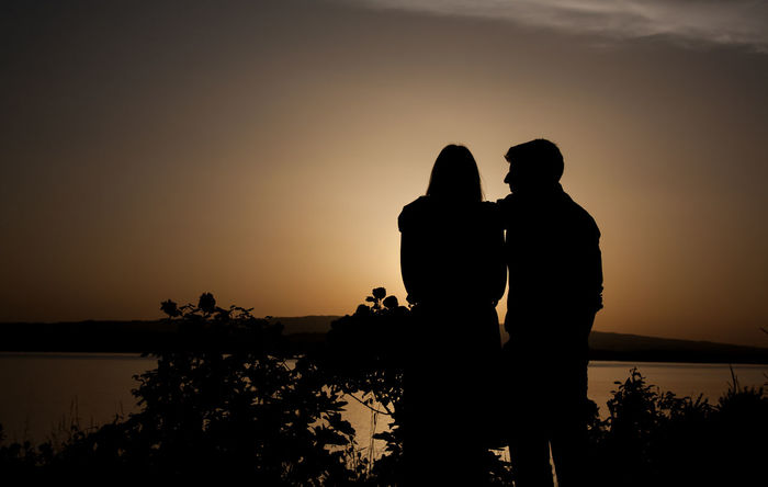 Landscape Sunset Silhouette Romantic