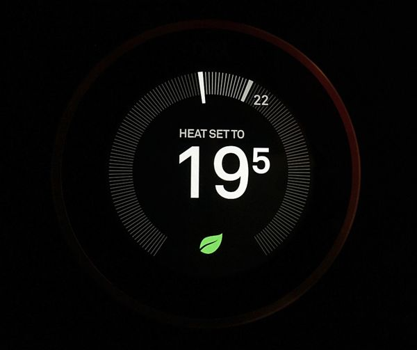 Close Up Technology Close-up Black Background Technology Smart Home Communication Gadget Electronic Device Temperature Setting Smart Heating High Tech Cold Temperature Illuminated Nest