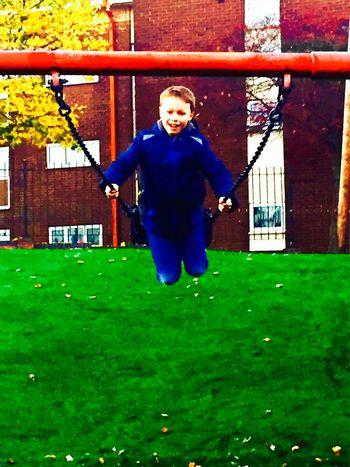 Swings Having Fun Swinging Swinging High Boy Park Happy