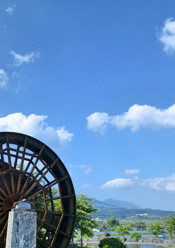Nature Sky Waterwheel Shine Mountains Clouds And Sky