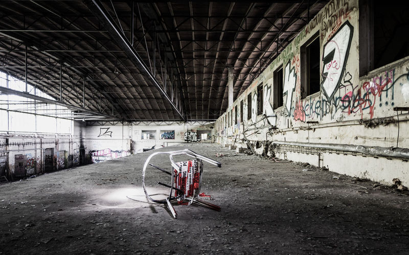 Bicycle in abandoned building