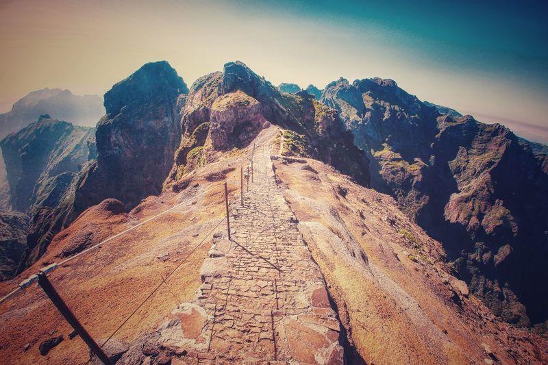Scenic view of rocky mountains against sky, pico do arieiro, madeira, portugal