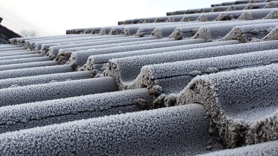 Frozen Close-up Cold Temperature Day Iced Roof Tiles No People Outdoors Roof Tiles Sky Winter Winter