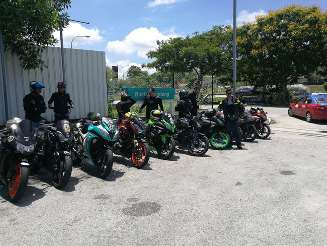 With fellow riders