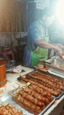 Meat Street Vendor Sunday Market At Lamai Lamai_samui_thailand