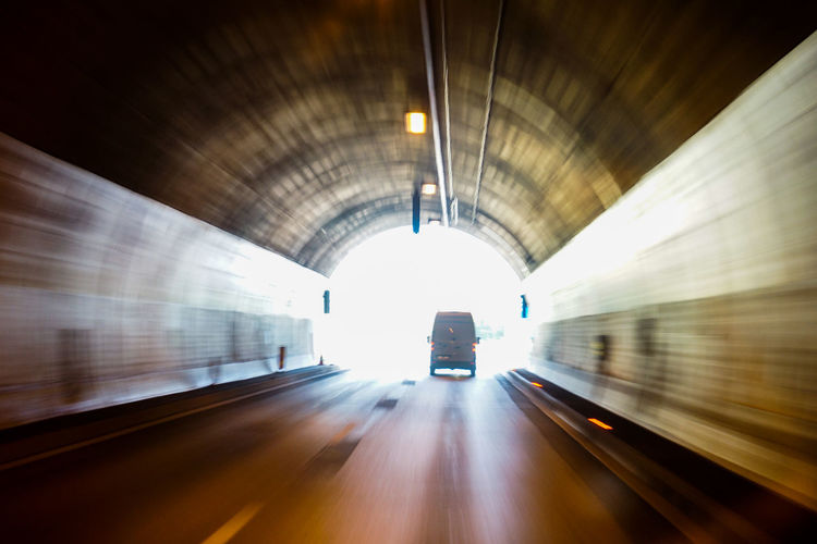 Blurred motion of train at tunnel