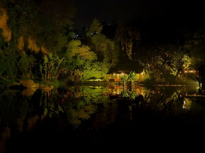 A House at Lake Tree Water Lake Reflection Landscape HUAWEI Photo Award: After Dark