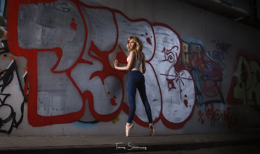 Urban Dancer Adult Architecture Art And Craft Beautiful Woman Beauty Fashion Front View Full Length Graffiti Hair Hairstyle Indoors  Lifestyles Mural One Person Real People Wall - Building Feature Women Young Adult Young Women EyeEmNewHere A New Beginning