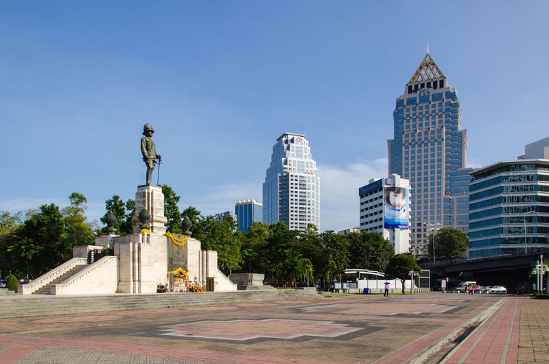 Bangkok Thailand. Clear Sky Field Garden Photography Monument Stucture Sunlight Sunlight And Shadow Lumpini Park