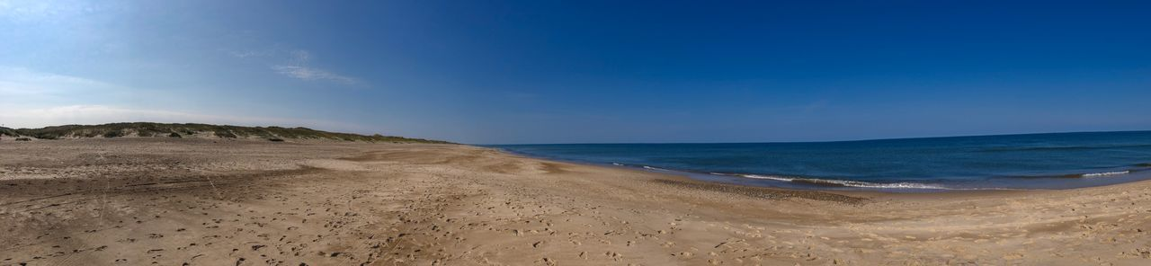 Panoramic View of the North Sea Coast in Denmark Denmark Coastline Shore Northsea Panoramic Photography Beach Land Sea Water Scenics - Nature Sky Beauty In Nature Tranquility Sand Tranquil Scene Horizon Over Water Nature Horizon Blue Cloud - Sky No People Non-urban Scene Day Idyllic Outdoors
