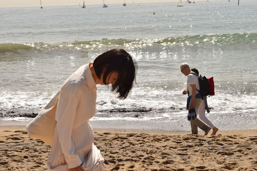 Beach Photography Laughing Portrait Of A Woman Chinese Woman Japanese Woman In White Clothes Portrait White Clothes White Shirt And Skirt Summer Exploratorium #urbanana: The Urban Playground