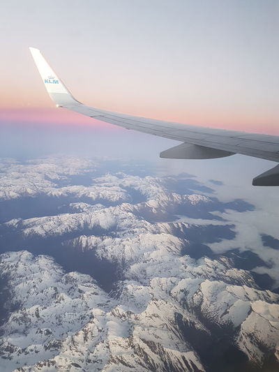 Flight Nature Sky And Clouds Mountains Snow KLM On Board