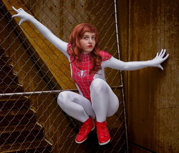 Spider Girl Cosplayer Cosplay Nycc2018 NYCC Full Length One Person Portrait Looking At Camera Beautiful Woman Front View Real People Young Women Women Leisure Activity Red Fence