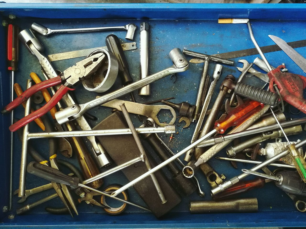 still life, large group of objects, work tool, table, indoors, no people, hand tool, close-up, day