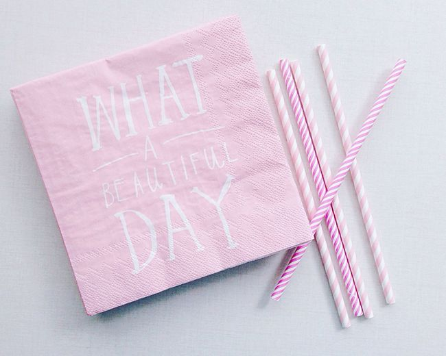 Pretty in pink Pink Pink Napkins Party Straws Striped Straws Pink Straws Pastel Pastel Pink Typography Beautiful Day Party Time Kids Party Pastel Power