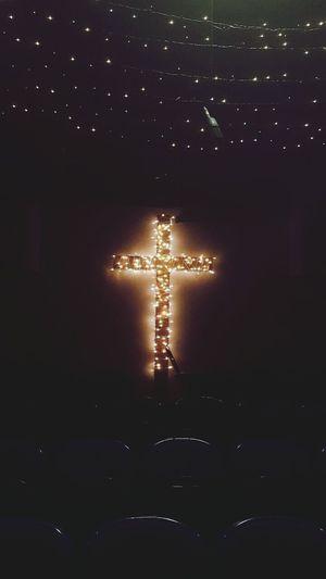 Church Christmas Decoration Carols Concert Choir  Pretty Twinkle Light Cross Lit Up Glow Jesuslovesyou Jesus Is Born! Photography Creative Festive in Brentwood Essex
