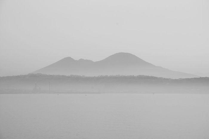 Landscape Sea And Sky Blackandwhite Monochrome Vesuvio Napoli Sea