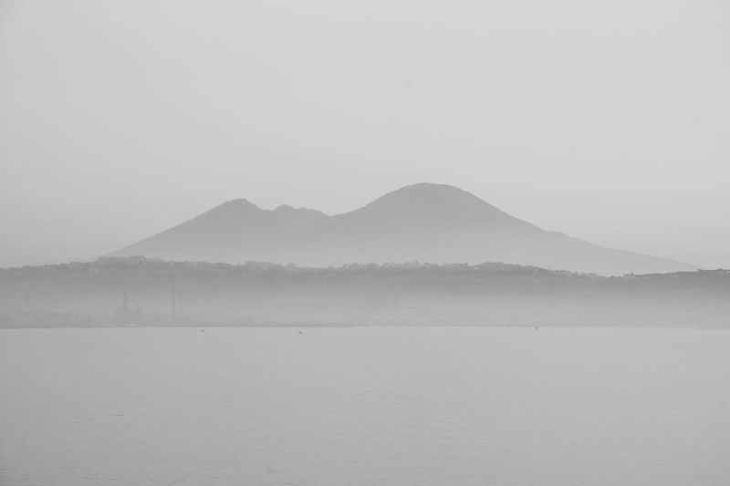 Landscape Sea And Sky Blackandwhite Monochrome Vesuvio Napoli Sea