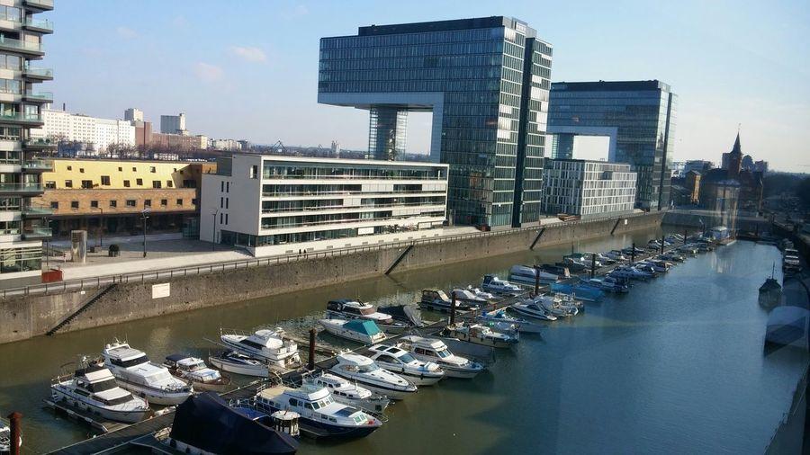 Aussicht ist immer wieder schick, vor allem mit Sonne. Köln Rhein Rheinauhafen