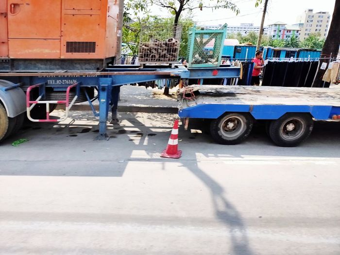 construction vehicle on the road Car Street Road Concrete Cement Constitution Vehicle Traffic Cone
