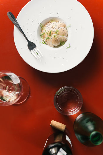 High angle view of drink in plate on table