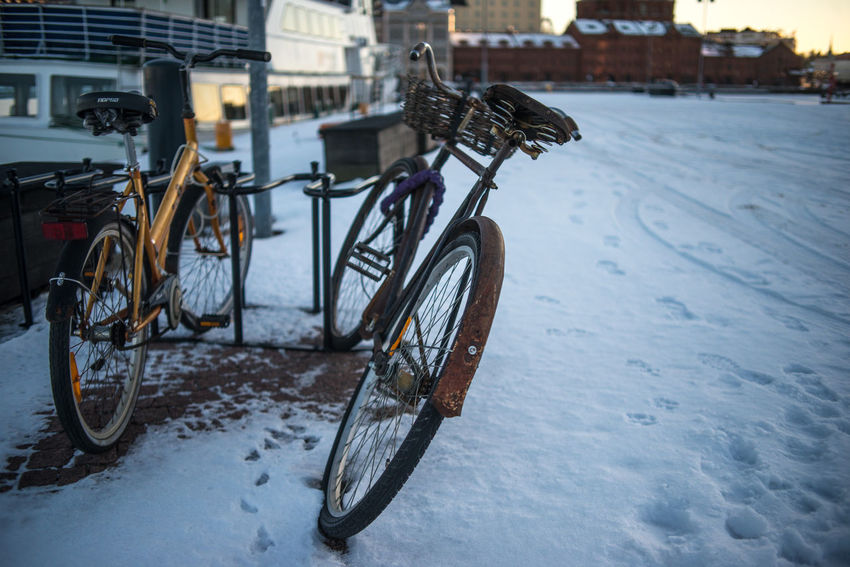 Architecture Bicycle Building Exterior Built Structure City Close-up Cold Temperature Day Katajanokka Land Vehicle Mode Of Transport Nature No People Outdoors Snow Stationary Transportation Winter