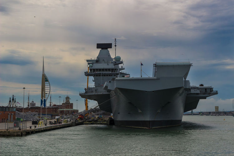 HMS Queen Elizabeth Navy Ship Architecture Business Cloud - Sky Freight Transportation Harbor Mode Of Transportation Moored Nature Nautical Vessel Navy No People Outdoors Port Sea Ship Shipping  Sky Transportation Travel Water Waterfront