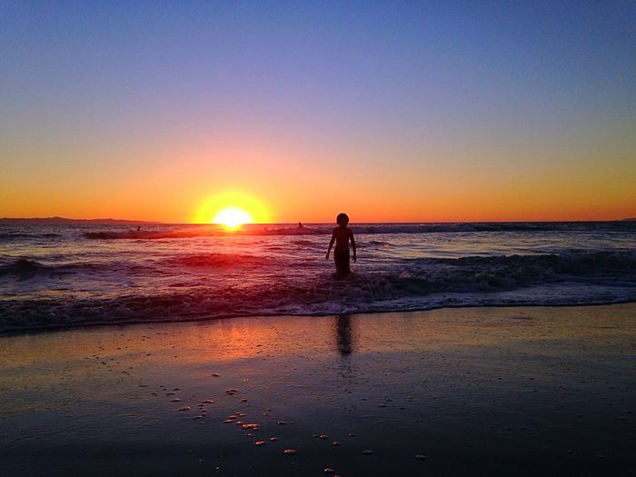 Real life Sunset Silhouette Pure Joy Golden Summer Beach Childs Play Sun Rays Color