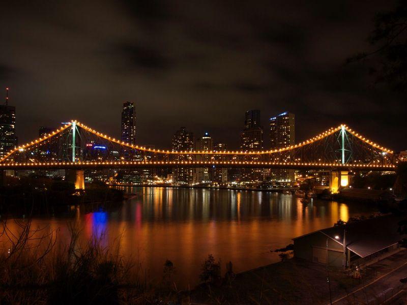 Bridge Brisbane Storey Bridge River Night Long Exposure Night Lights Cityscapes Cityscape City