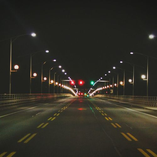 EyeEmNewHere bridge to Quebec Night Illuminated Road Transportation No People The Way Forward Outdoors Street Light City