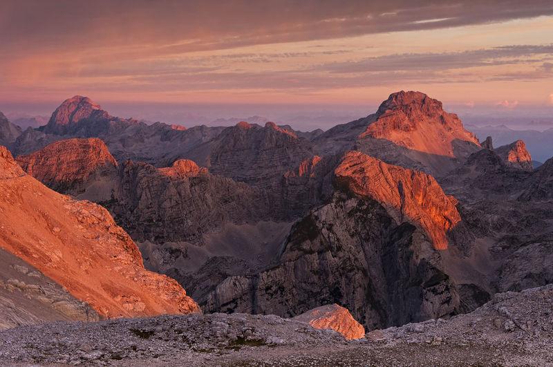 Triglav National Park, Slovenia Desert Geology Landscape Mountain Nature Outdoors Red Color Rock - Object Sky Sunlight Sunrise Sunset Tranquility Travel Destinations Fresh On Market 2017