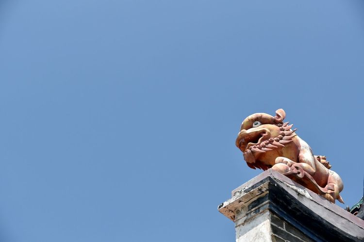 The Color Of Business Cheung Chau Temple Lion Statue Roof Chinese Oriental Asian  Blue Clear Sky Outdoors Sculpture Contrast Colour TakeoverContrast
