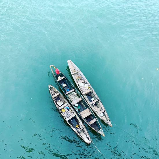 Banana boat under falomo bridge! Water Sea High Angle View Nautical Vessel Transportation Mode Of Transportation Day