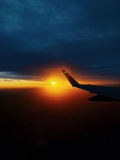 fly with sunrise Window View Sunlight Sunset Cloud - Sky Silhouette Scenics - Nature Sun Airplane Dramatic Sky Non-urban Scene