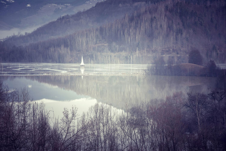 Scenics view of lake and trees in foggy weather