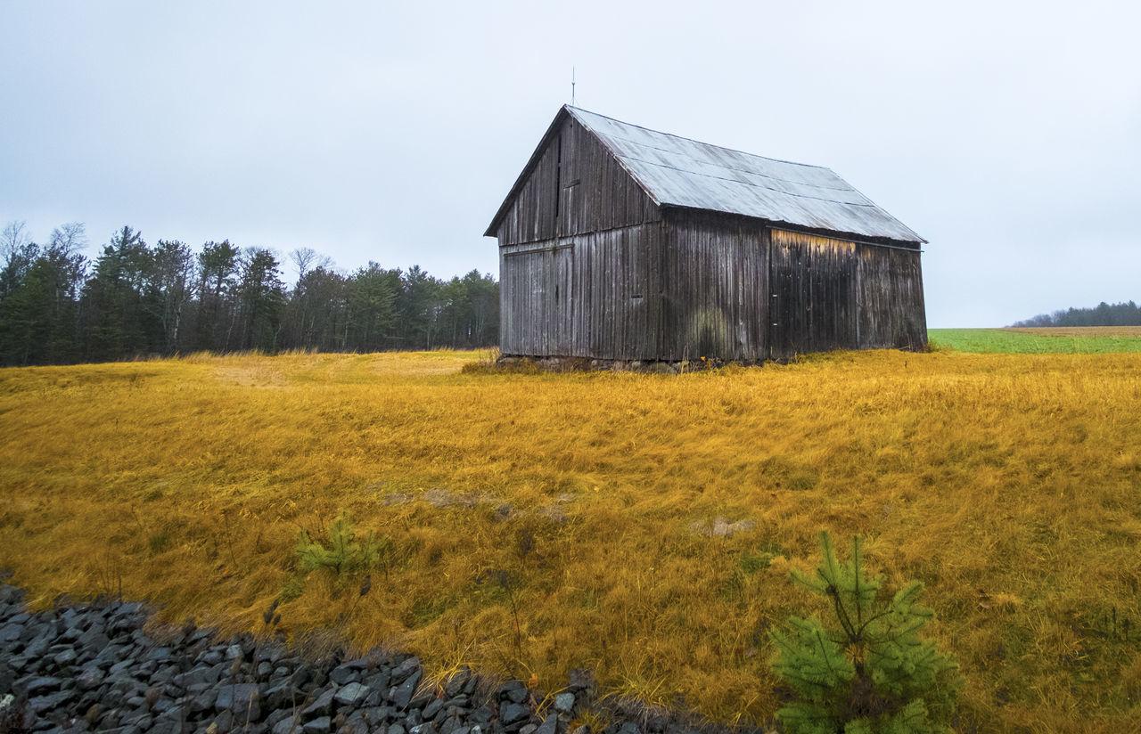Barn on grassy field against sky