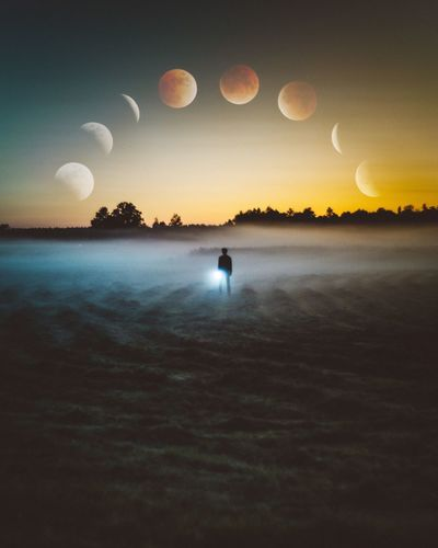 Moon Full Moon Sky Beauty In Nature Nature Sunset Silhouette Real People Tranquil Scene Sea Scenics Idyllic Tranquility Balloon Outdoors One Person Water Horizon Over Water Night Men