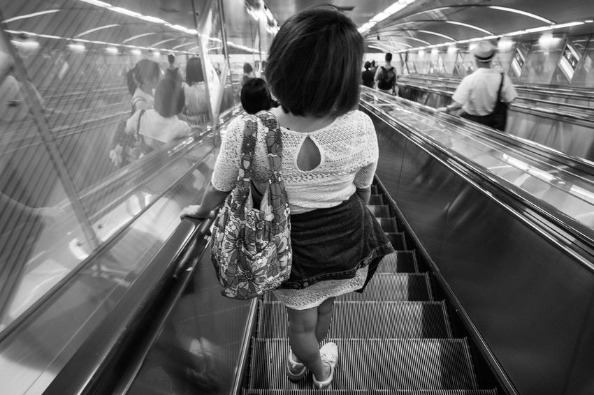 Real People Women Rear View Lifestyles Indoors  Adult Escalator Females Standing Moving Walkway