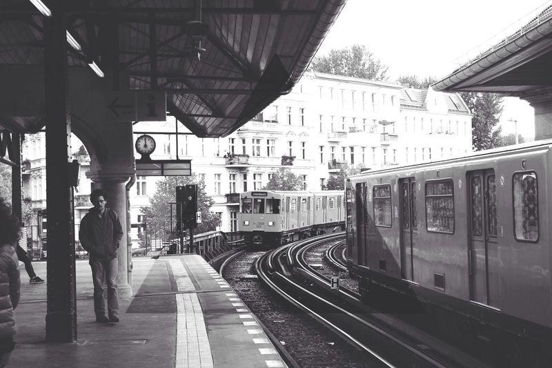 Railroad track at railroad station platform