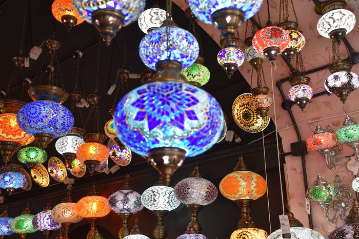 A collection of Turkish lamps hanging from the ceiling Decoration Electricity  Elegant Lighting Hanging Illuminated Lighting Equipment Low Angle View Turkish Lamp Turkish Lamps