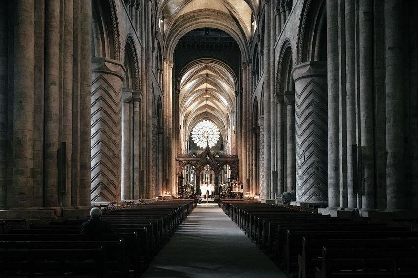 Church EyeEm Best Shots Lowlight Aisle Altar Arch Architectural Column Architecture Belief Building Built Structure Ceiling Diminishing Perspective Direction Eye4photography  Gothic Style In A Row Indoors  No People Pew Place Of Worship Religion Shootermag Spirituality The Way Forward